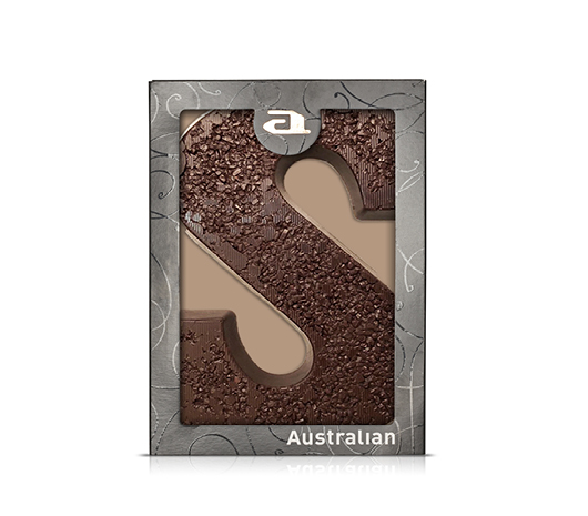 Chocolate letter ton sur ton dark S