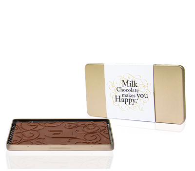 Luxury chocolate steelbox bar milk